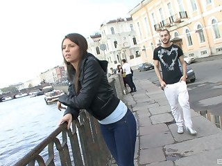 Long haired Russian brunette teen Henessy rides and sucks a cock