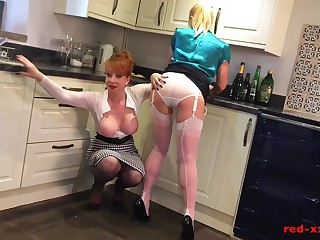 Mature redhead fucks her girlfriend connected with a rolling pin