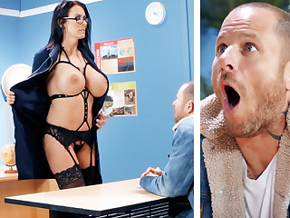 Sexy teacher hardcore fucks schoolboy at cram