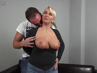 Crestfallen big breasted German mom fucking young house-servant