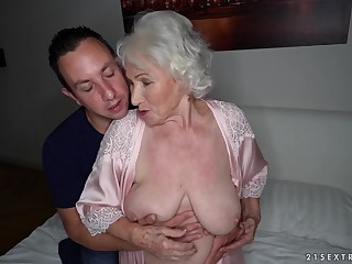 Busty mature granny Norma swallows every prolong walk out on of cum