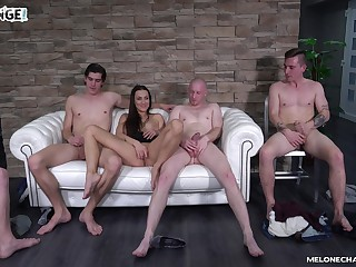 Mea Melone chooses which cock to fuck prime on the chuck couch