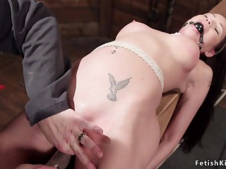 Babe in strict enslavement fornicateed by captor