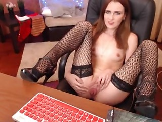 Redhaired chick screwing pussy in rendezvous chair, great overcrowd