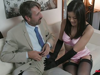 Man rubbing away bitch Kendra Spade gives a blowjob to her elder make less painful daddy