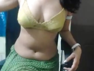 Indian girl performs hot shake dance upstairs live camera