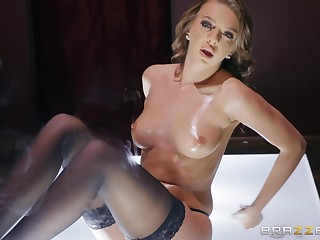 Stripper newborn Tiffany Watson rides dick and swallows cum after a show