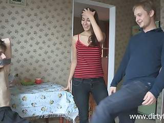 Lustful Russian teen Dusya makes her boyfriend cuckold be advisable for the first time