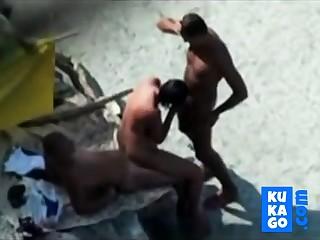 Nude Seashore - Nice Bareback Trinity