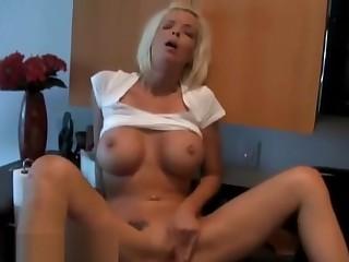 Big Tit Blonde Housewife Masturbates With Fingers On Kitchen Zenith