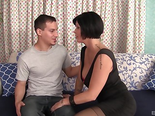 Mature short haired domineer whore Shay Fox blows cock on her knees