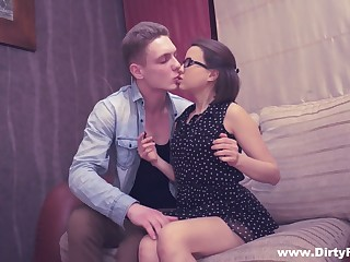 Nerdy student in glasses Rita Jalace gets facial on the first date