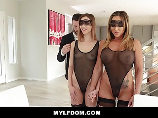 Big-Chested dame and her insane step- daughter-in-law are having a three way in the late afternoon