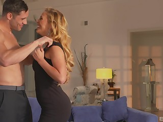 complete blonde Cherie Deville gets her pussy pounded unconnected with a lover