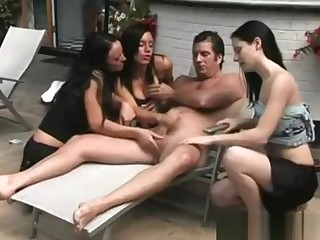 Poolside pulling detach from cfnm sluts on naked guys cock