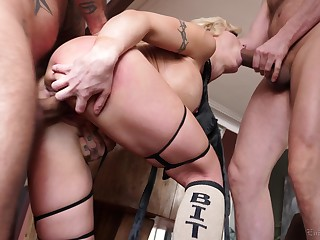 Men fuck blonde goddess adjacent to the irritant and pussy not later than a wild order