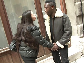 Slutty long haired teen Mira Cuckold ass fucked overwrought a big Negroid cock