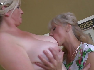A handful of old plus young lesbians having special party