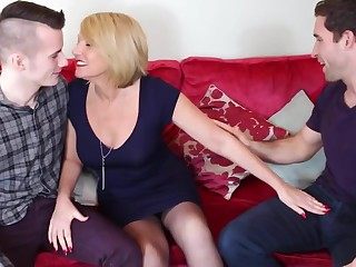 Mature mother fucked wide of two young sons