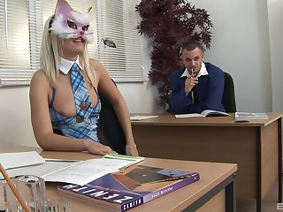 Blonde imperceivable whore double penetrated in an office threesome