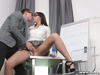 Ardent lady in high heels exposes her booty and gets nailed doggy hard