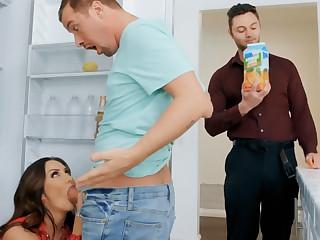 Wife's chubby tits seduced nanny to fuck hardcore