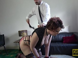 Chubby submissive brunette Mesmer Rose fucked and mistreated hardcore
