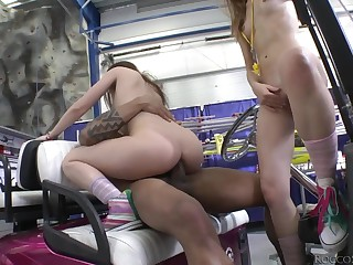 Horny young cuties share a big unscrupulous dick