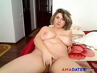 BBW untrained strip and masturbation solo