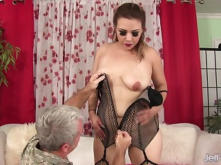 Chubby MILF Aubrey Blu Slides The brush Pussy yon and around Grandpas Hard Dick