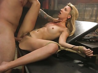 Kinky dude ties up and fucks crucified and tied up blonde Sophia Grace