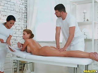 Oiled added to sexy Marilyn Magnifying glass gets her cunt pounded wits her horny masseur
