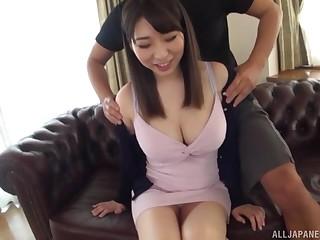 Takarada Monami screams from pleasure while her team up fucks her