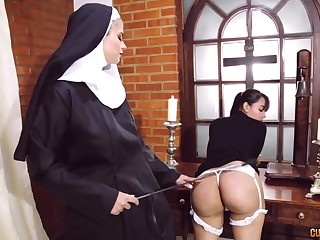 Imbecile nun sapphic good-luck piece with two staggering women
