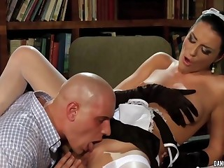 Obedient brunette man serves her master to wet cunt