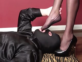 Pvc black micro dress, high heels, nylons, blowjob, be crazy