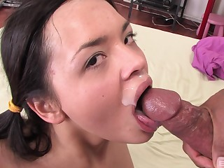 Brunette cuttie adores fat together with black oversize penis in her mouth together with cunt