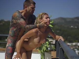 Tattooed guy fucked sexy Veronica Leal on the balcony