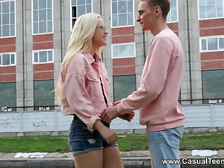 Shy blondie in stockings Nikki Hill gets intimate with her new boyfriend