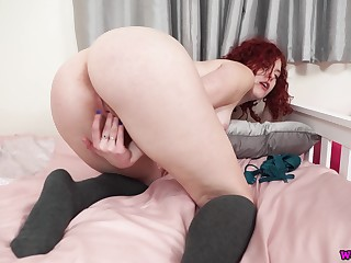 Overheated haired housewife Charlie T is playing with pussy in doggy style pose