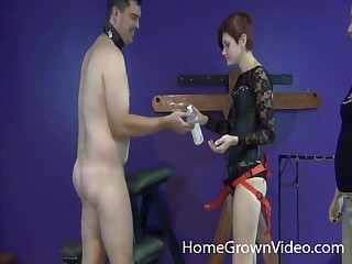 Femdom fetish cutie pegging her stud with a strap on dildo hardcore