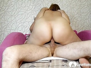 Amazing mommy bounces on her son's hard cock
