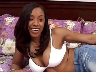 Tattooed ebony in bikini is sexually satisfied in a POV bed sex