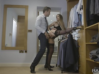 Intense hard sex while standing for the seductive wife