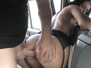 Bitch handles the dick on the nigh seat for the fake taxi-cub