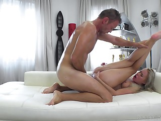 Skinny young blonde feels Rocco fucking her roughly