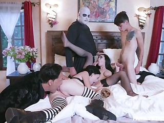 Addams Breeding parody leads eradicate affect members to fuck like crazy