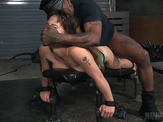 Two dudes tied up sexy slut Devilynne back fuck the brush mouth and pussy