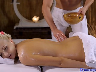Lickerish panhandler seduces the hot blonde with an erotic massage