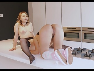 Hot Milf Taking On A Hairy Lesbian Teen On Be imparted to murder Kitchen Counter - MatureNL